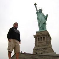Mochileiro na Estátua da Liberdade!