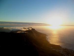 Por do sol na Table Mountain