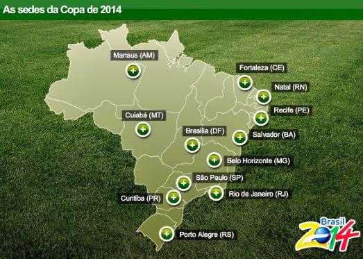 As cidades-sede da COPA 2014 - MAPA