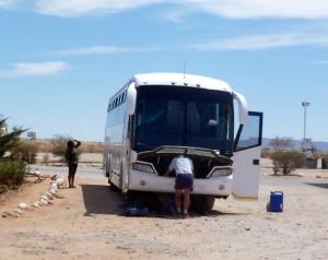 Ônibus quebrado na Namíbia