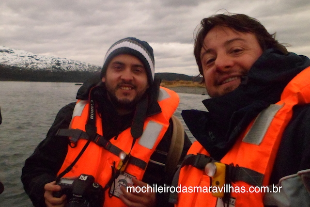 Átila e eu em um dos botes da expedição