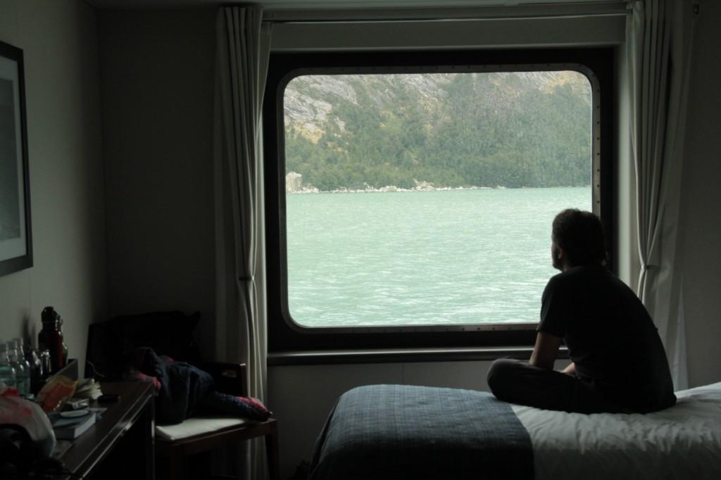 Curtindo a cabine e o janelão com vista pra Patagônia