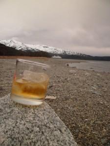 Uísque com gelo glaciar