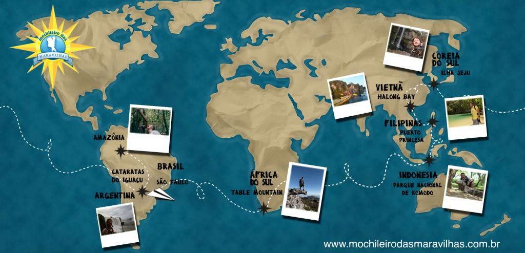 Volta ao mundo II - Mapa Rota Maravilhas Naturais