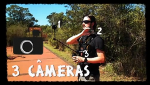 Daniel Thompson e seu equipamento com 3 Câmeras