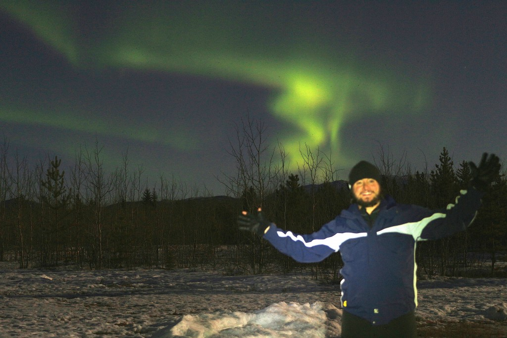 Mochileiro na Aurora Boreal