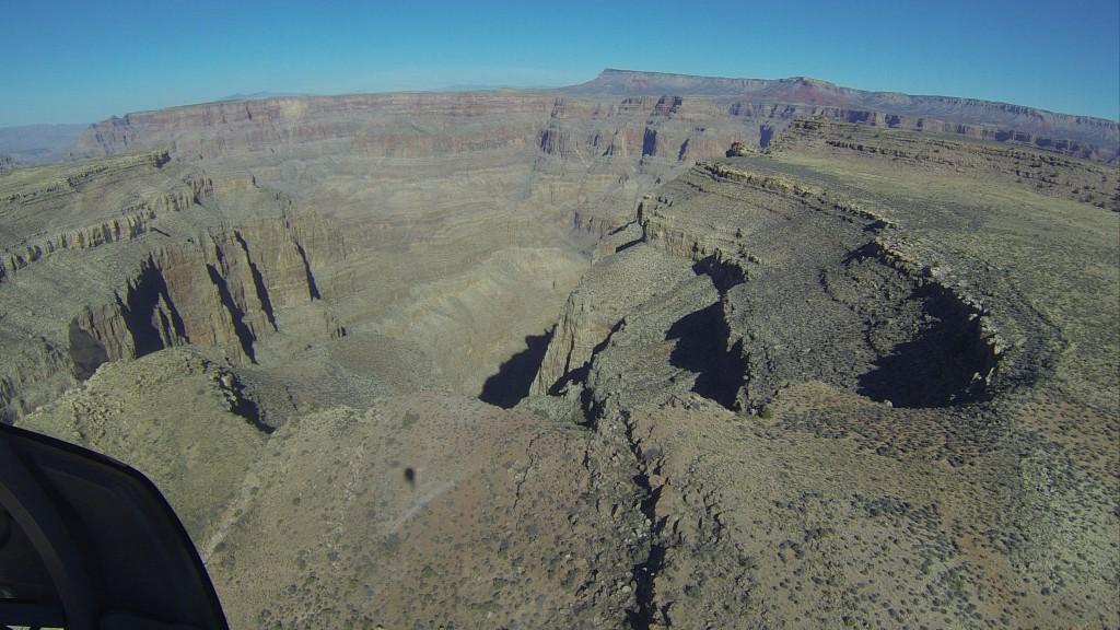 Começando o voo sobre o Grand Canyon...