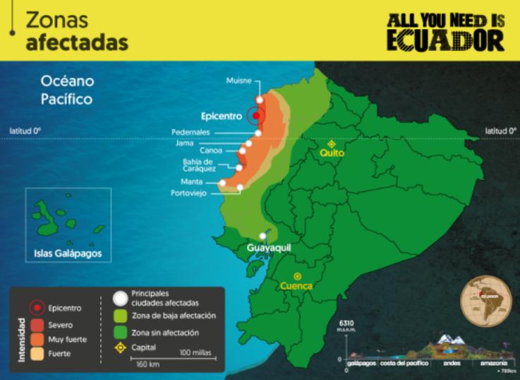 Zonas afetadas Equador