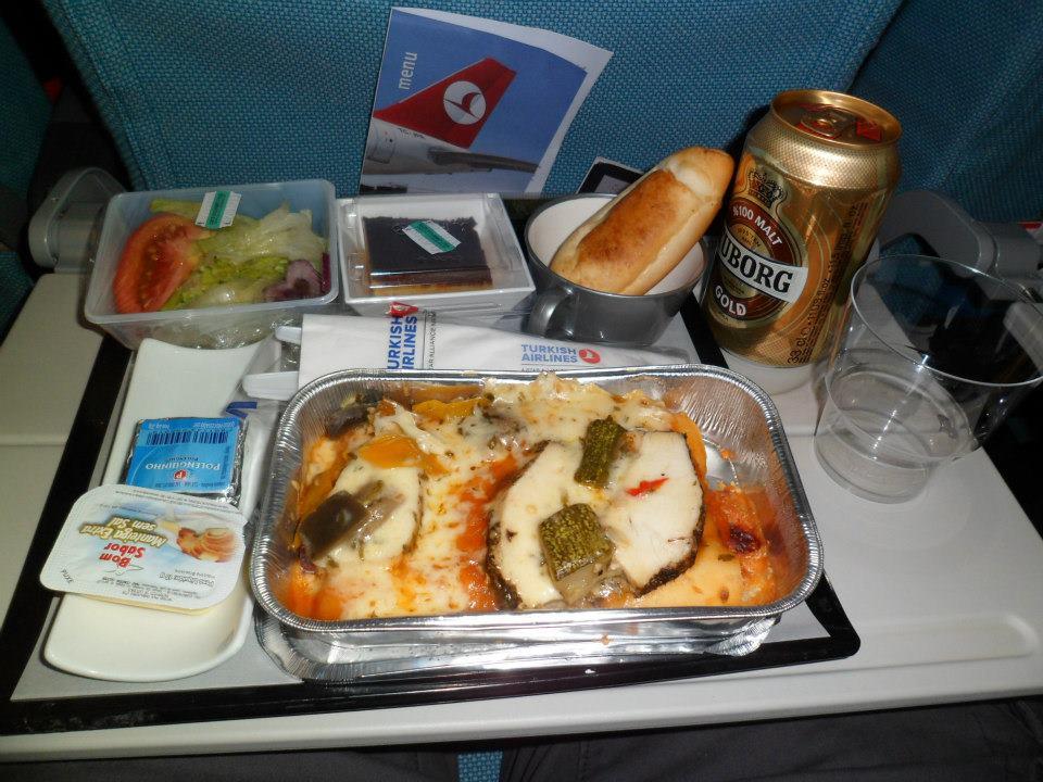 Jantar da Turkish Airlines no vôo São Paulo / Buenos Aires