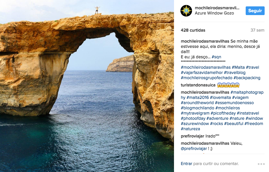 Meu post no Insta sobre a Azure Window, durante a passagem por Malta