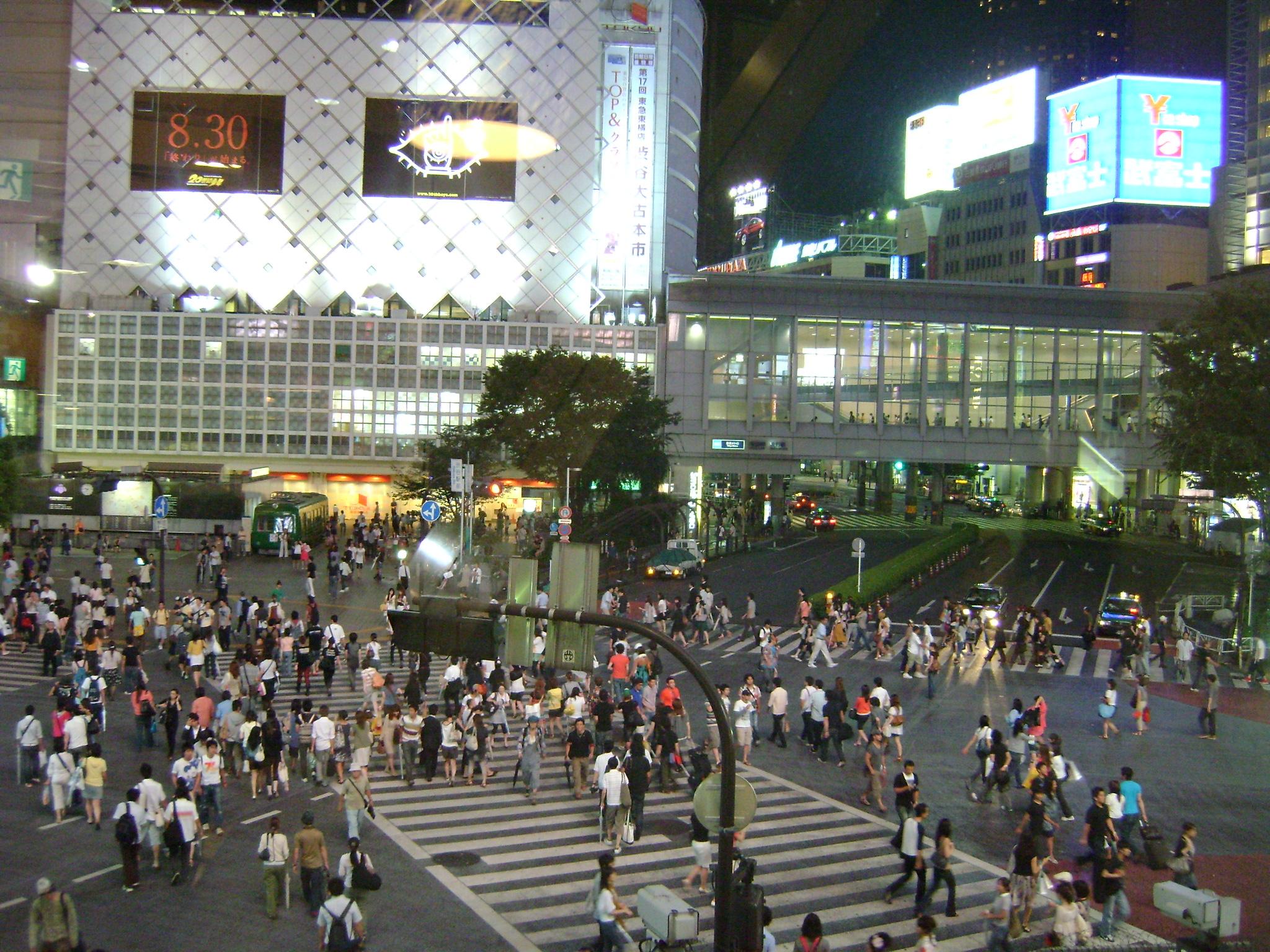 O famoso cruzamento de Shibuya